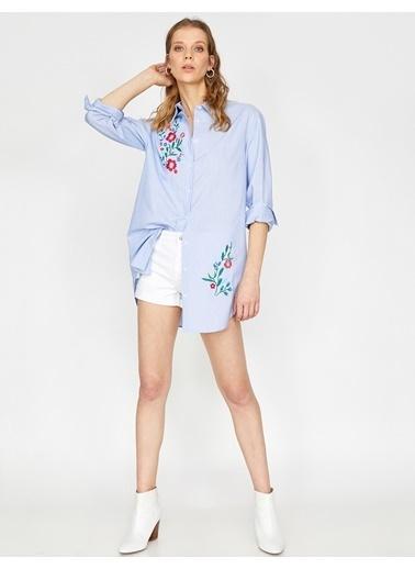 Koton İşlemeli Gömlek Mavi